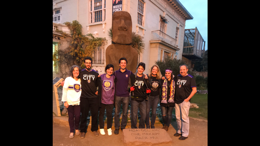 From left to right: My host mom Gloria, host brother Warren Jr., host sister Amy, me, my brother Joey, my mom, my host sister Eileen, and my host dad Warren. We are standing in front of one of the only two mo'ai (Easter Island heads) that aren't on Easter Island.