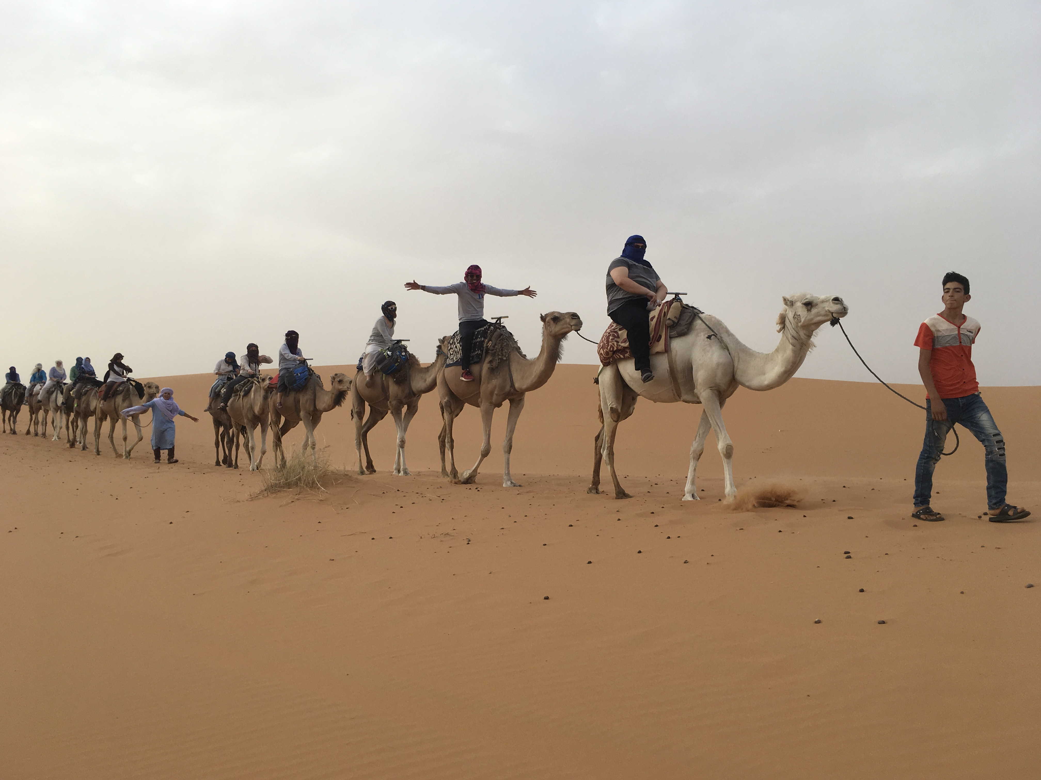 Riding camels in the Sahara Desert.
