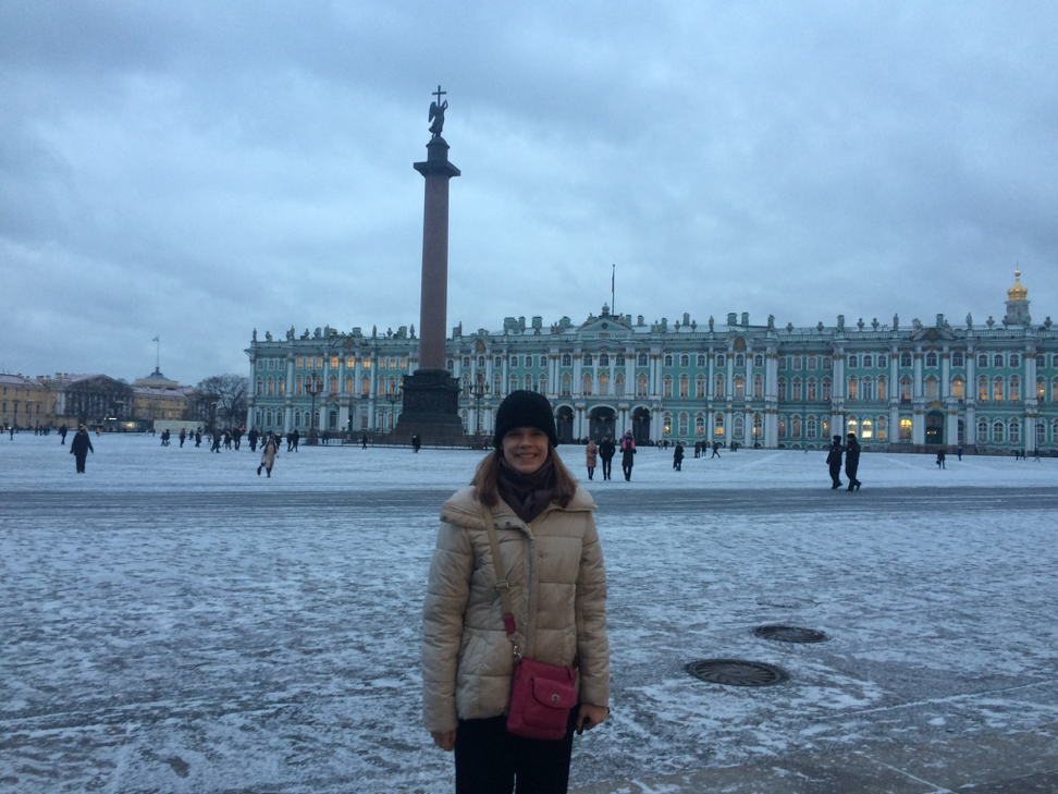 My first Russian snowfall in front of the Hermitage Museum in Saint Petersburg.