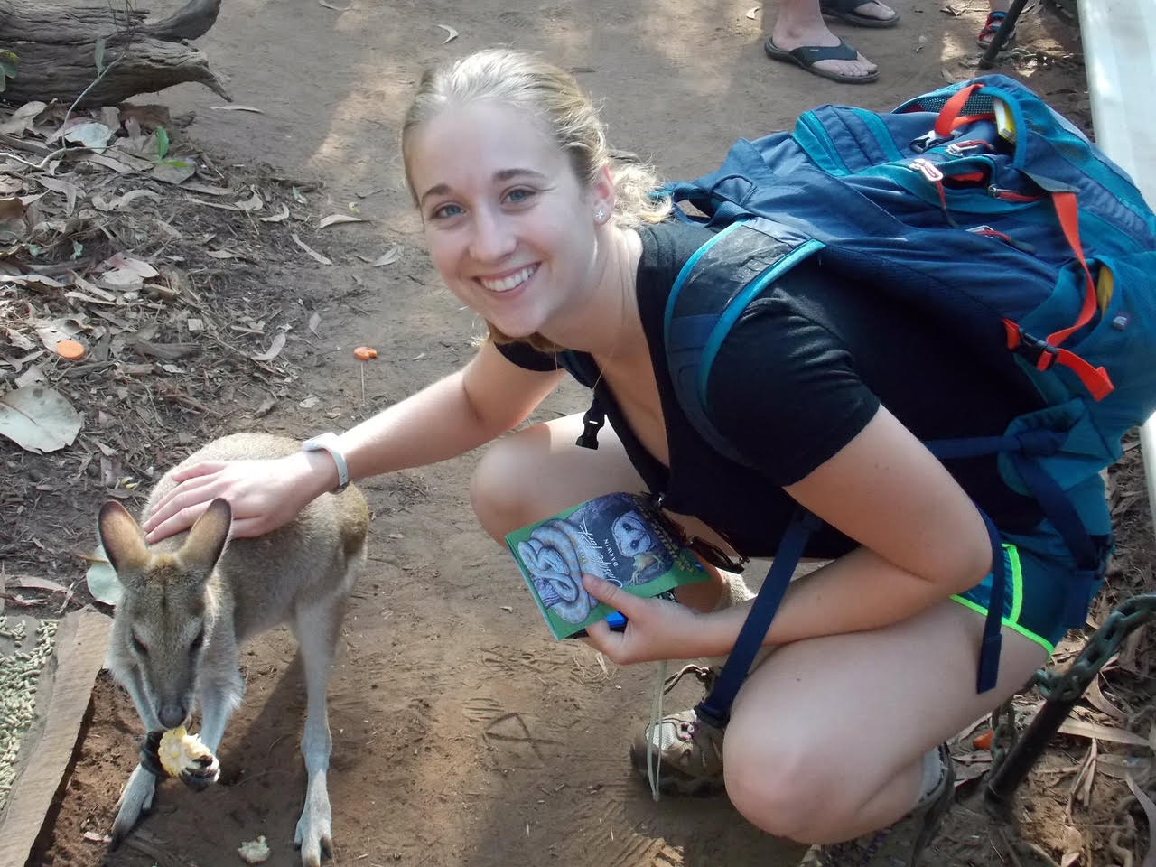 Helen with a kangaroo in Darwin, Northern Territory.