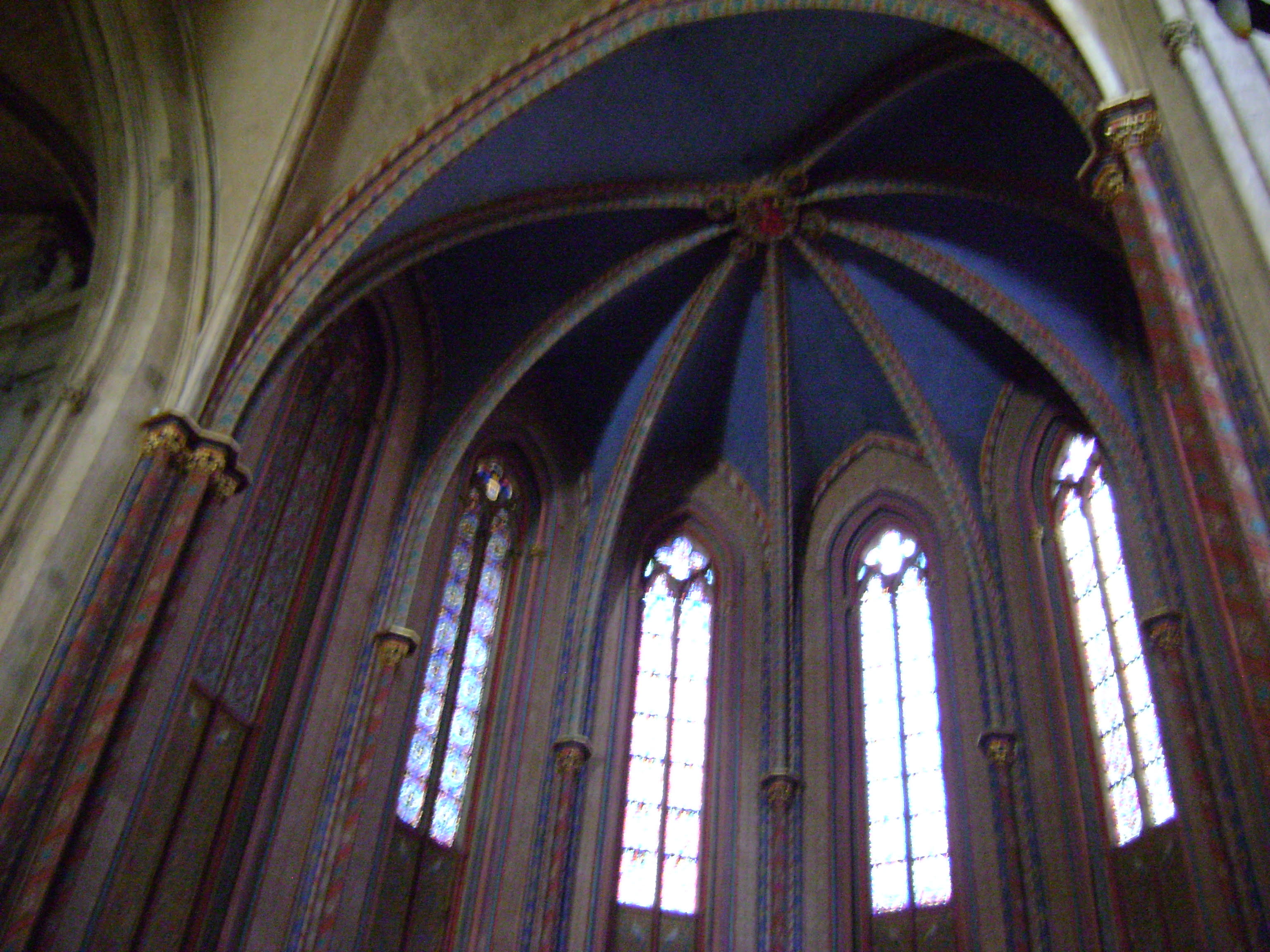 The beautiful arched ceiling in one of Paris' many churches and cathedrals.