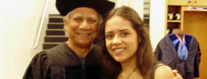 Photo of Maja Islam with Nobel Prize Winner