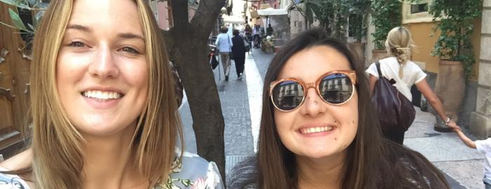 photo of Anna Kropf and Emma Paradiso enjoying the streets of Verona, Italy