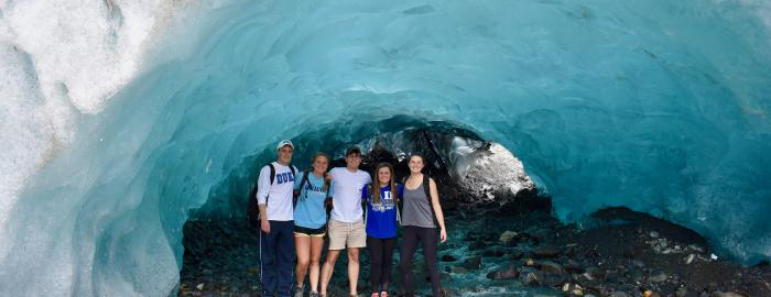 exploring the ice caves in Mendenhall Glacier (Juneau, Alaska)