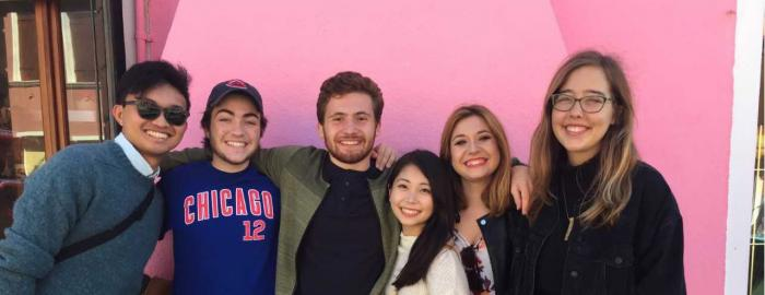 Frances with one of the other Duke students on her program: two Japanese students, one Italian student and a student from Boston University on an island off Venice called Burano, which is famous for its colorful houses.