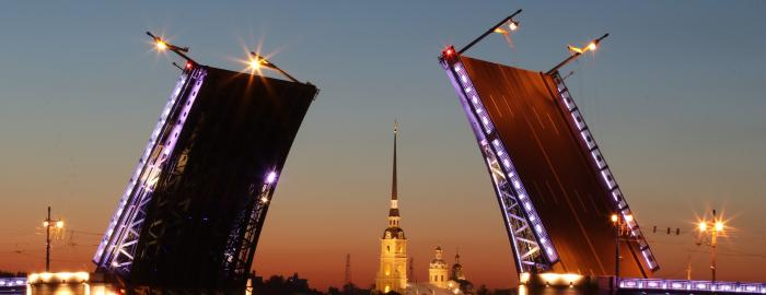 drawbridge on the River Neva in St Petersburg Russia