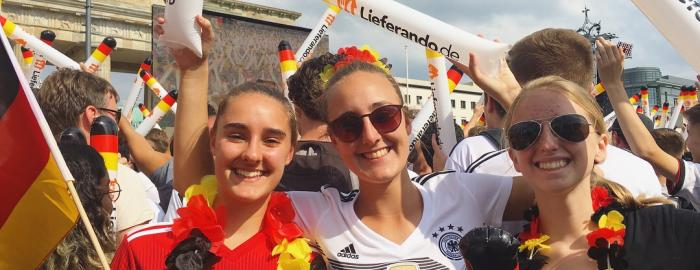 "Cheering on Germany in the 2018 World Cup at the ""Fanmeile"" in front of the Brandenburger Tor."