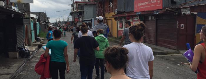 Visiting one of the lower-income neighborhoods to learn about social services in Costa Rica.