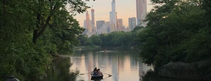 A sunset view of the Central Park Lake from the Ramble